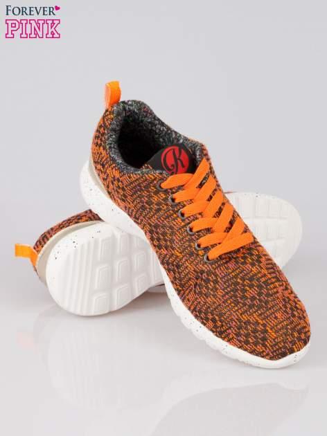 Pomarańczowe buty sportowe dual material Level Up z tweedu                                  zdj.                                  4