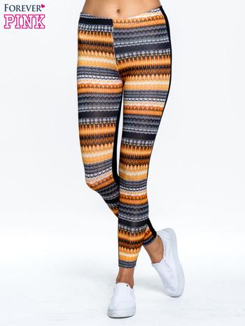 Pomarańczowe legginsy two tone w etniczny wzór                                  zdj.                                  1