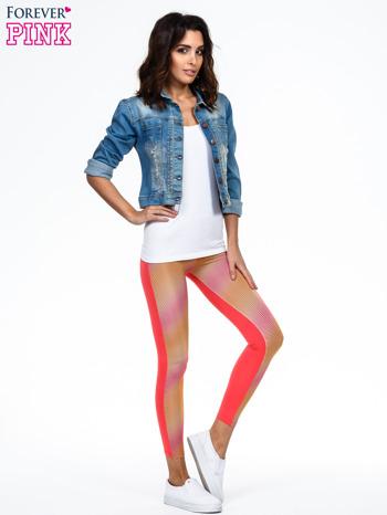 Pomarańczowe legginsy we fluorescencyjne wzory                                  zdj.                                  2