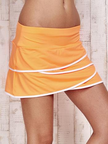Pomarańczowe spodenki spódniczka tenisowa z falbankami                                  zdj.                                  4