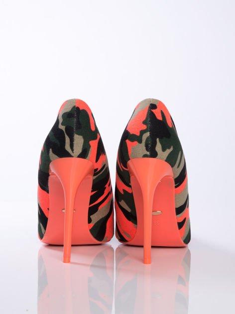 Pomarańczowe szpilki moro Tessa na cienkiej szpilce w szpic