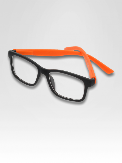 Pomarańczowo-czarne okulary zerówki kujonki typu WAYFARER NERDY matowe                                  zdj.                                  1