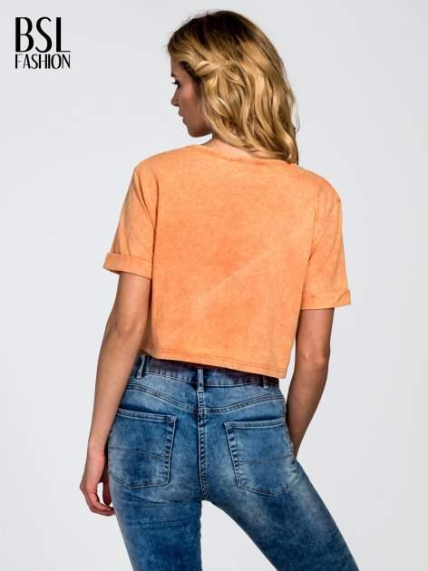 Pomarańczowy dekatyzowany t-shirt cropped                              zdj.                              4