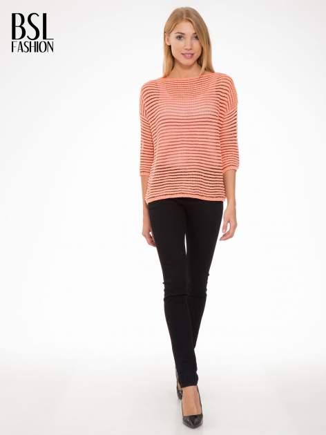 Pomarańczowy półtransparentny sweter w prążki                                  zdj.                                  4