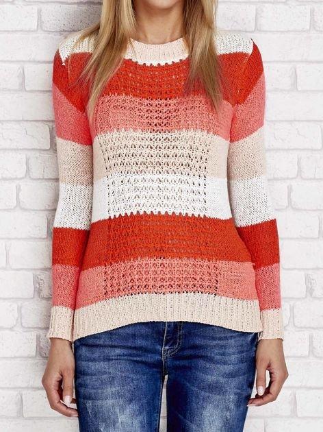 Pomarańczowy sweter w kolorowe paski                                  zdj.                                  1