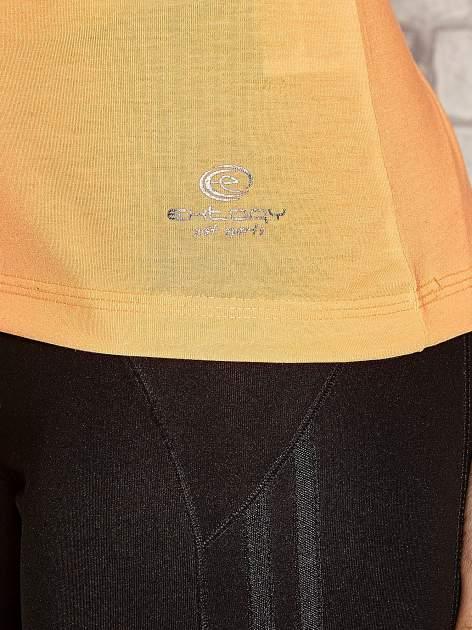 Pomarańczowy t-shirt sportowy z kieszonką na suwak PLUS SIZE                                  zdj.                                  4