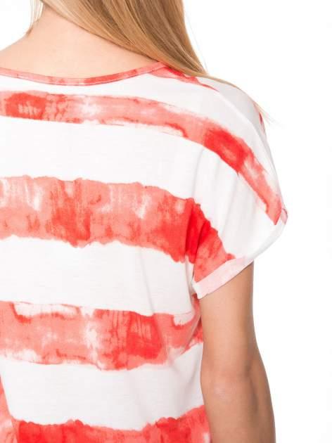 Pomarańczowy t-shirt w paski tie-dye                                  zdj.                                  8