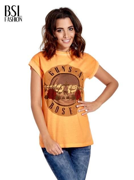 Pomarańczowy t-shirt z nadrukiem GUNS N' ROSES
