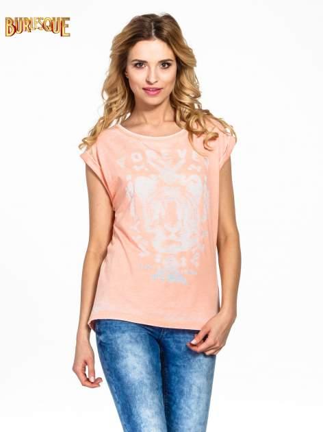 Pomarańczowy t-shirt z napisem FOREVER i nadrukiem tygrysa                                  zdj.                                  1