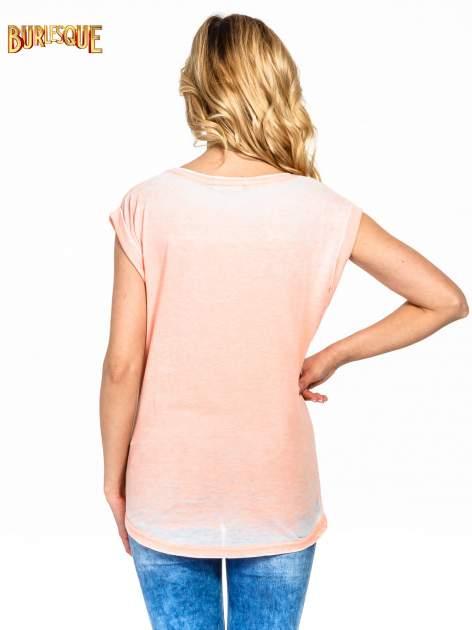 Pomarańczowy t-shirt z napisem FOREVER i nadrukiem tygrysa                                  zdj.                                  4