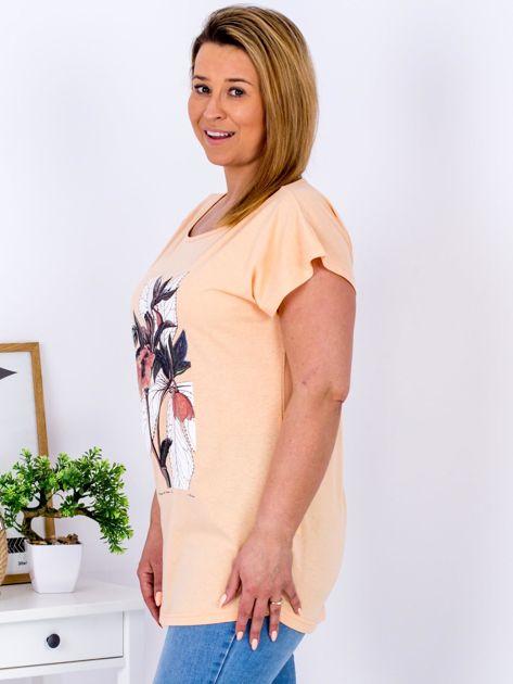 Pomarańczowy t-shirt z roślinnym motywem PLUS SIZE                              zdj.                              5