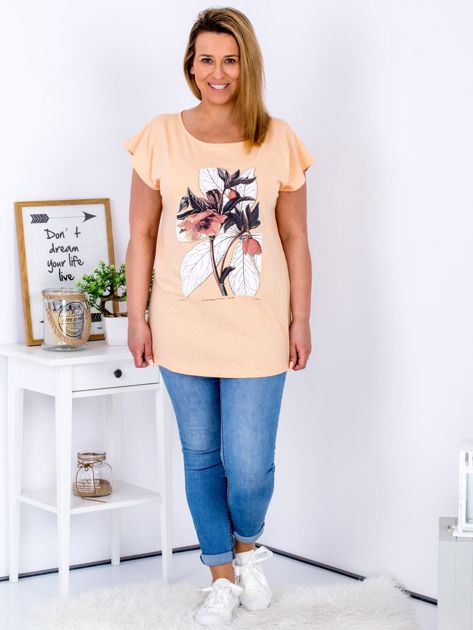 Pomarańczowy t-shirt z roślinnym motywem PLUS SIZE                              zdj.                              4