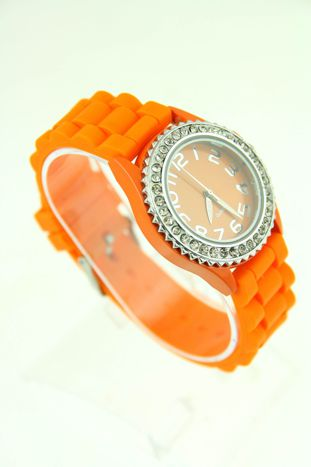 Pomarańczowy zegarek damski na silikonowym pasku                                  zdj.                                  2