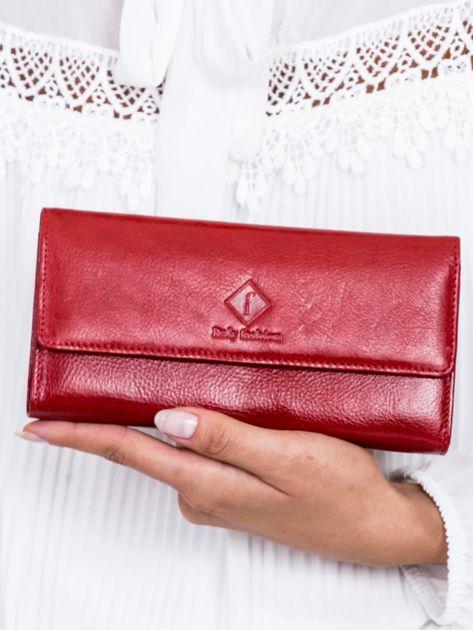 Portfel damski czerwony z zewnętrzną przegródką
