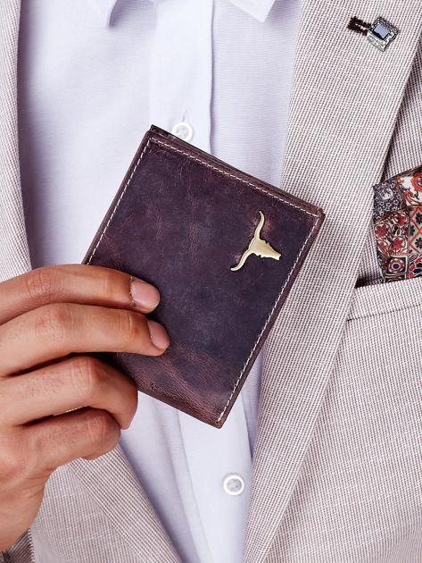 Portfel męski brązowy z emblematem