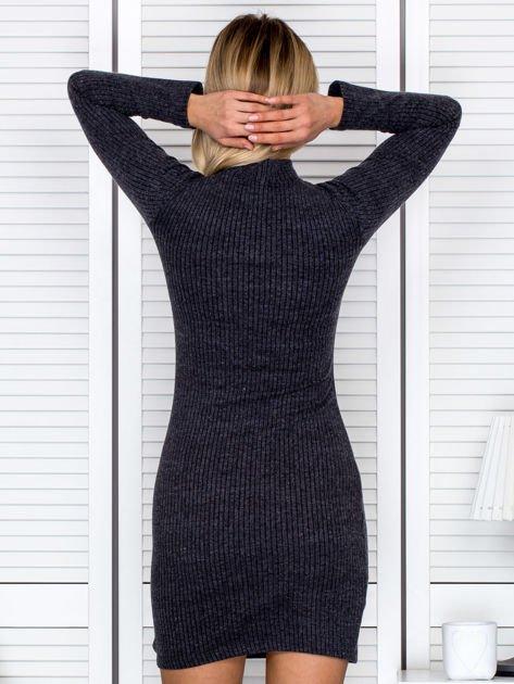 Prążkowana sukienka lace up z chokerem ciemnoszara                              zdj.                              2