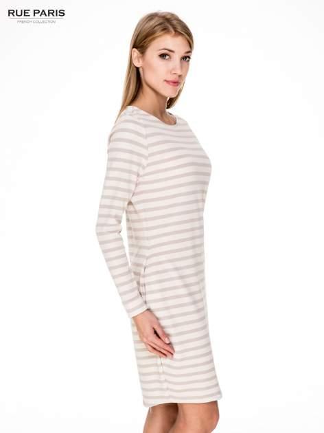 Prosta sukienka w biało-beżowe paski ze złotą nitką                                  zdj.                                  3