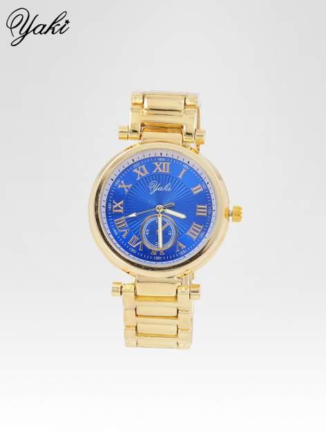 Prosty złoty zegarek damski na bransolecie z niebieską tarczą