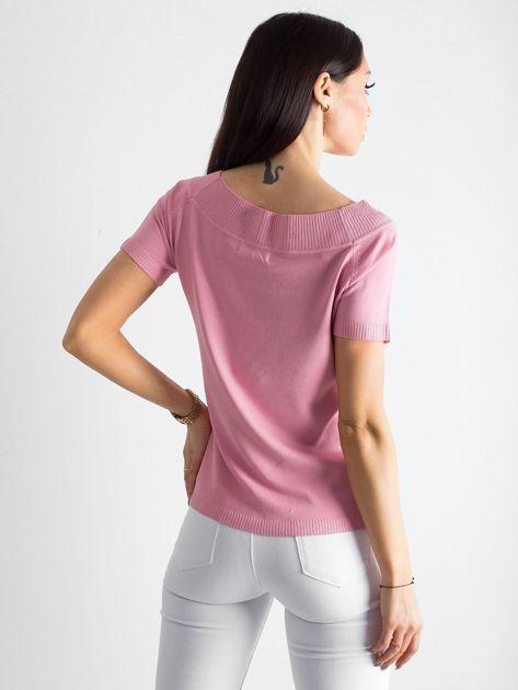 Pudroworóżowa bluzka z wycięciami                              zdj.                              2