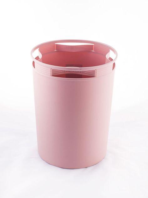 Pudroworóżowy pastelowy kosz na śmieci z holderem na worek                              zdj.                              3