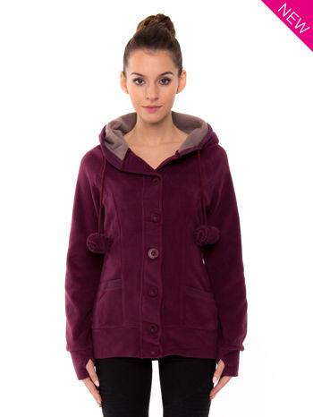 Purpurowa polarowa bluza z kapturem z uszkami                                  zdj.                                  2