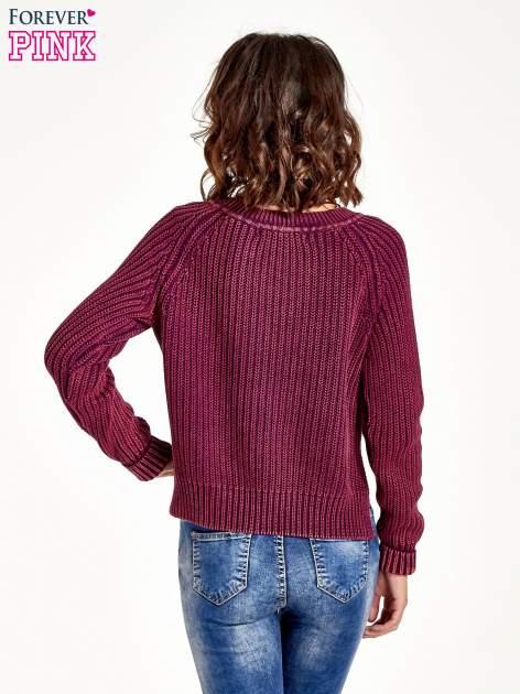 Purpurowy sweter cropped z rozporkami                                  zdj.                                  6