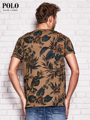 RALPH LAUREN Brązowy t-shirt męski z roślinnym nadrukiem                                  zdj.                                  2