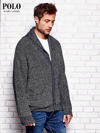 RALPH LAUREN Granatowy melanżowy sweter męski na guziki                                  zdj.                                  3