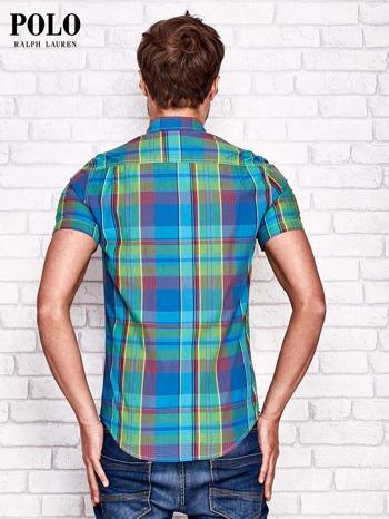 RALPH LAUREN Niebieska koszula męska w kolorową kratę                                  zdj.                                  2