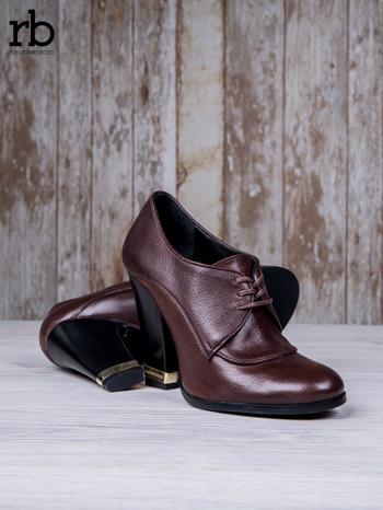 ROCCOBAROCCO Brązowe wiązane botki true leather skórzane oxfordki                                  zdj.                                  4