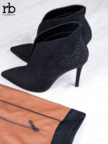 ROCCOBAROCCO Czarne zamszowe botki chamois leather z czarnymi koralikami                                  zdj.                                  5