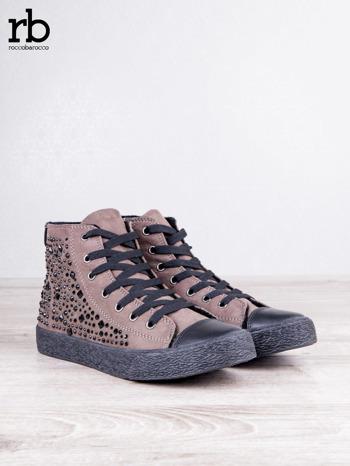 ROCCOBAROCCO brązowe zamszowe sneakersy true suede z czarnymi błyszczącymi kamieniami                                  zdj.                                  3