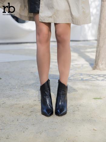 ROCCOBAROCCO czarne skórzane botki genuine leather na szpilce z asymetryczną cholewką                                  zdj.                                  3
