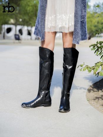 ROCCOBAROCCO czarne skórzane kozaki genuine leather do kolan z asymetryczną cholewką                                  zdj.                                  4