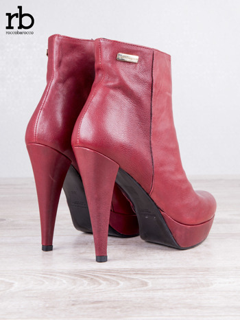 ROCCOBAROCCO czerwone skórzane botki genuine leather na koturnach                                  zdj.                                  4