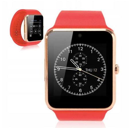 RONEBERG Smartwatch RG08 Współpracuje z Android oraz iOS Powiadomienia Połączenia Krokomierz Monitor snu Czerwono-złoty