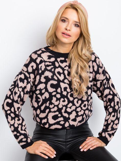 RUE PARIS Czarno-różowy sweter Candy