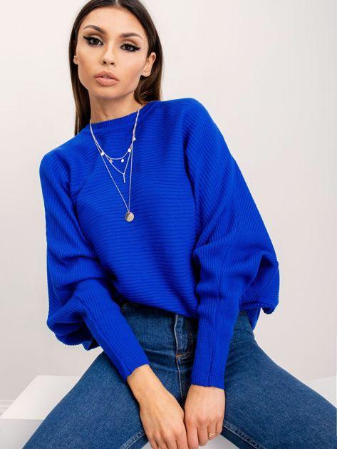 RUE PARIS Kobaltowy sweter Pose