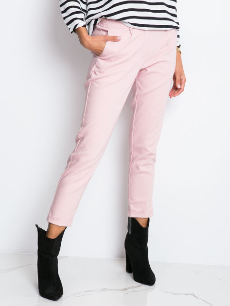RUE PARIS Różowe spodnie Control