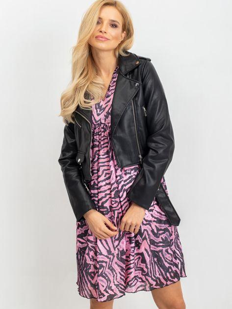 RUE PARIS Różowo-czarna sukienka Tiger                              zdj.                              1