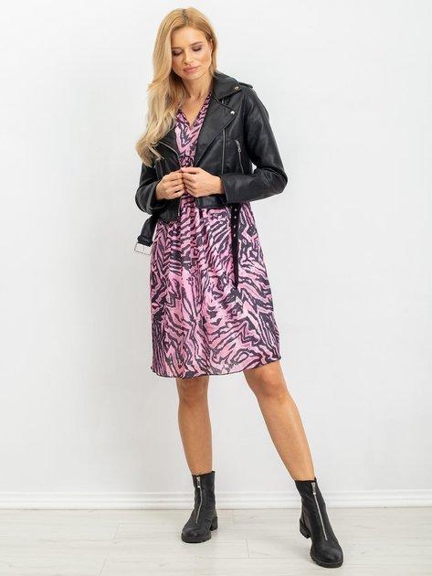RUE PARIS Różowo-czarna sukienka Tiger                              zdj.                              4