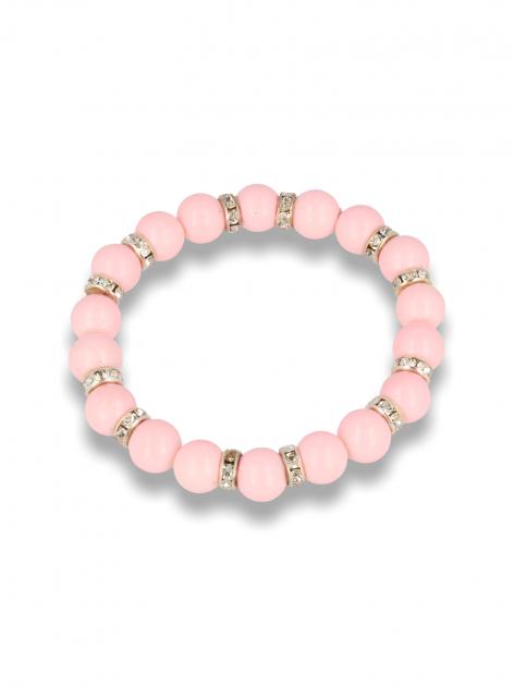 Różowa Bransoletka koralikowa  z cyrkoniowymi przekładkami                                  zdj.                                  1