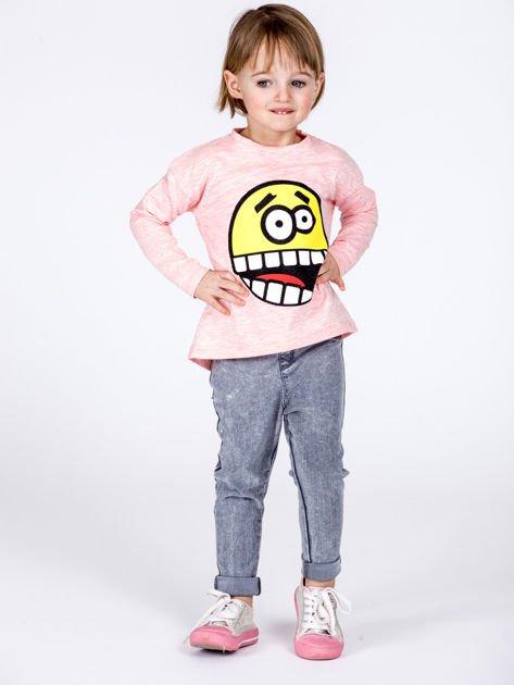 Różowa bawełniana bluzka dziecięca z zabawną emotikonką                              zdj.                              5