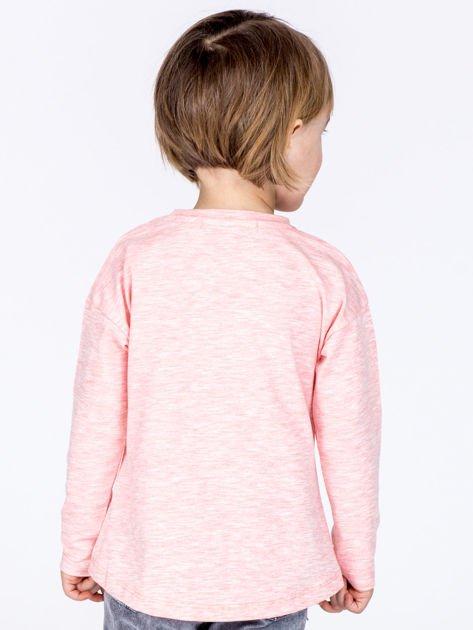 Różowa bawełniana bluzka dziecięca z zabawną emotikonką                              zdj.                              3