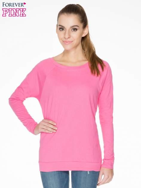 Różowa bawełniana bluzka z rękawami typu reglan                                  zdj.                                  1