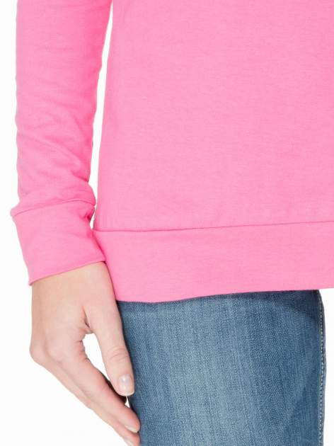 Różowa bawełniana bluzka z rękawami typu reglan                                  zdj.                                  6