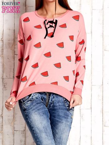 Różowa bluza w arbuzy z wiązaniem
