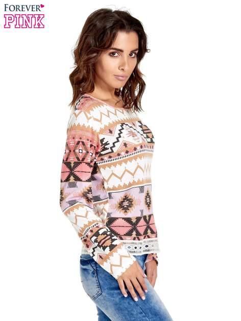 Różowa bluza w azteckie wzory z gipiurą                                  zdj.                                  3