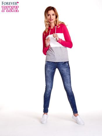 Różowa bluza z kapturem z białym i szarym wykończeniem                                  zdj.                                  3