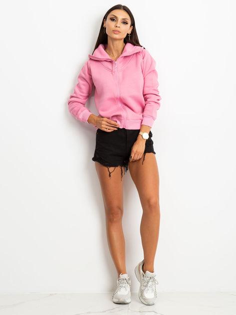Różowa bluza z miękkim kołnierzem                              zdj.                              1
